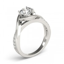 Solitaire  Bypass Diamond Engagement Ring 14k White Gold (0.13ct)