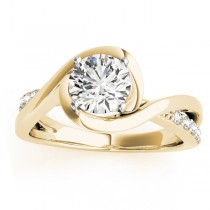 Diamond Bypass Engagement Ring Setting in 14k Yellow Gold (0.13ct)