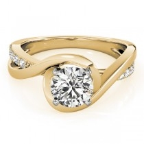 Solitaire Bypass Diamond Engagement Ring 14k Yellow Gold (0.13ct)