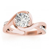Solitaire Bypass Diamond Engagement Ring 18k Rose Gold (0.13ct)