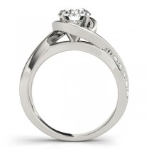 Solitaire  Bypass Diamond Engagement Ring 14k White Gold (3.13ct)