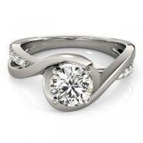 Solitaire Bypass Diamond Engagement Ring Platinum (3.13ct)