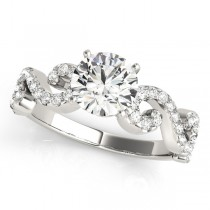 Round Designer Swirl Diamond Engagement Ring 18k White Gold (1.83ct)