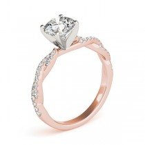 Diamond Twist Sidestone Accented Engagement Ring 18k Rose Gold (1.69ct)