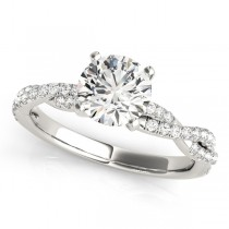 Diamond Twist Sidestone Accented Engagement Ring 18k White Gold (1.69ct)