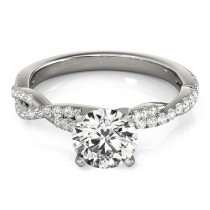Diamond Twist Sidestone Accented Engagement Ring 14k White Gold (0.19ct)