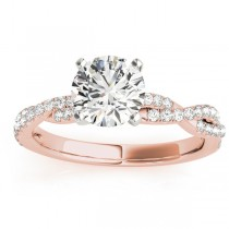 Diamond Twist Sidestone Accented Engagement Ring 18k Rose Gold (0.19ct)