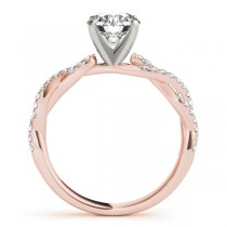 Diamond Twist Sidestone Accented Engagement Ring 18k Rose Gold (0.19ct)