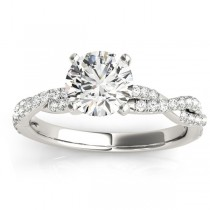Diamond Twist Sidestone Accented Engagement Ring 18k White Gold (0.19ct)