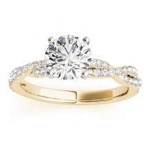 Diamond Twist Sidestone Accented Engagement Ring 18k Yellow Gold (0.19ct)
