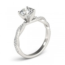 Diamond Twist Sidestone Accented Engagement Ring Palladium (1.69ct)