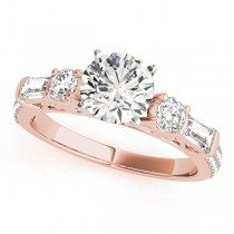 Round & Baguette Diamond Engagement Ring 14k Rose Gold (1.88ct)