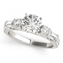 Round & Baguette Diamond Engagement Ring 18k White Gold (1.88ct)