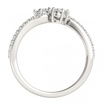 Diamond Accented Twisted Two Stone Ring 14k White Gold (1.25ct)