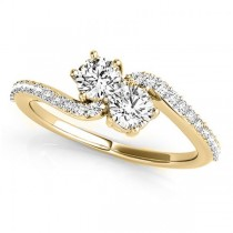 Diamond Accented Twisted Two Stone Ring 14k Yellow Gold (1.25ct)