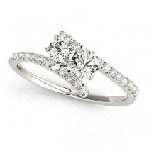 Diamond Tension Style Shank Two Stone Ring 14k White Gold (0.75ct)