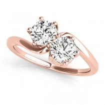 Diamond Solitaire Two Stone Ring 14k Rose Gold (1.00ct)