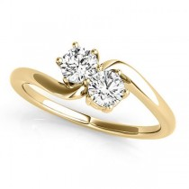 Diamond Solitaire Two Stone Ring 14k Yellow Gold (0.50ct)