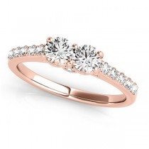 Diamond Two Stone Ring with Pave Sidestones 14k Rose Gold (1.25ct)