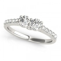 Diamond Two Stone Ring with Pave Sidestones 14k White Gold (1.25ct)