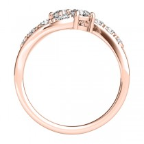 Diamond Accented Contoured Two Stone Ring 14k Rose Gold (2.00ct)