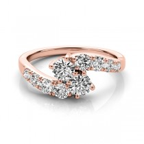Diamond Accented Contoured Two Stone Ring 18k Rose Gold (2.00ct)
