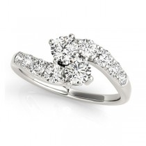 Diamond Accented Contoured Two Stone Ring 18k White Gold (2.00ct)