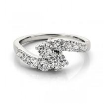 Diamond Accented Contoured Two Stone Ring Platinum (2.00ct)
