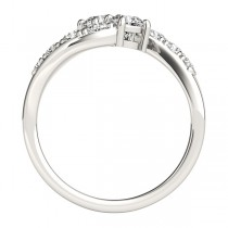 Diamond Accented Contoured Two Stone Ring 14k White Gold (1.25ct)