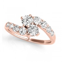 Diamond Accented Contoured Two Stone Ring 18k Rose Gold (1.25ct)