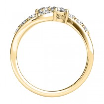 Diamond Accented Contoured Two Stone Ring 18k Yellow Gold (1.25ct)
