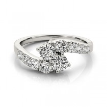 Diamond Accented Contoured Two Stone Ring Palladium (1.25ct)