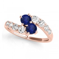Blue Sapphire & Diamond Contoured Two Stone Ring 14k Rose Gold (2.00ct)