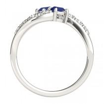Blue Sapphire & Diamond Contoured Two Stone Ring 14k White Gold (2.00ct)