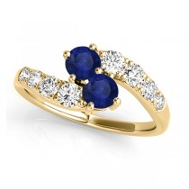 Blue Sapphire & Diamond Contoured Two Stone Ring 14k Yellow Gold (2.00ct)