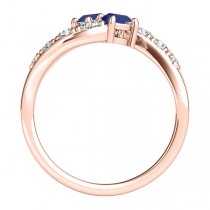 Blue Sapphire & Diamond Contoured Two Stone Ring 18k Rose Gold (2.00ct)