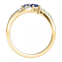 Blue Sapphire & Diamond Contoured Two Stone Ring 18k Yellow Gold (2.00ct)