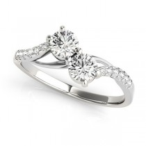Curved Two Stone Diamond Ring with Accents 18k White Gold (0.36ct)