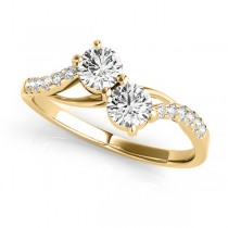 Curved Two Stone Diamond Ring with Accents 18k Yellow Gold (0.36ct)