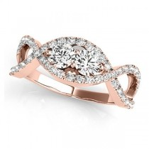 Diamond Twisted Infinity Two Stone Ring 14k Rose Gold (1.00ct)