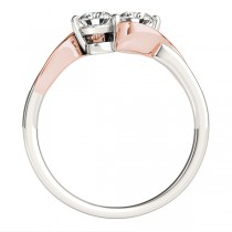 Diamond Accented Twised Two Stone Ring 14k Two Tone Gold (1.13ct)