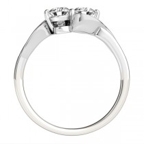 Diamond Accented Twised Two Stone Ring 14k White Gold (1.13ct)
