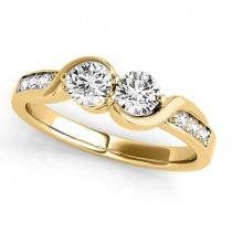 Diamond Accented Twised Two Stone Ring 14k Yellow Gold (1.13ct)
