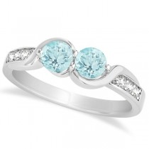 Aquamarine Diamond Accented Twisted Two Stone Ring 14k White Gold (1.13ct)