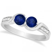 Blue Sapphire Diamond Accented Twisted Two Stone Ring 14k White Gold (1.13ct)