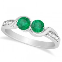 Emerald Diamond Accented Twisted Two Stone Ring 14k White Gold (1.13ct)