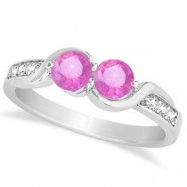 Pink Sapphire Diamond Accented Twisted Two Stone Ring 14k White Gold (1.13ct)