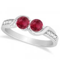 Ruby Diamond Accented Twisted Two Stone Ring 14k White Gold (1.13ct)