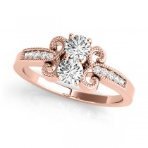 Diamond Butterfly Swirl Two Stone Ring 14k Rose Gold (0.34ct)