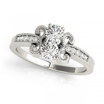 Diamond Butterfly Swirl Two Stone Ring 14k White Gold (0.34ct)